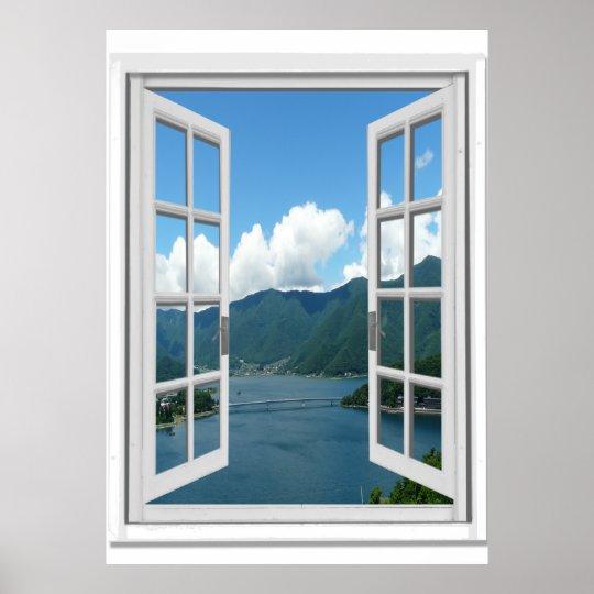 mountain湖の眺めtrompe l oeilの擬似窓 ポスター zazzle co jp