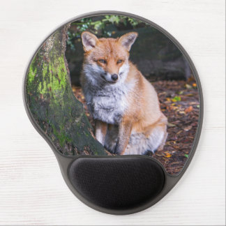 Mousepad of red fox sat by a tree mousemat ジェルマウスパッド