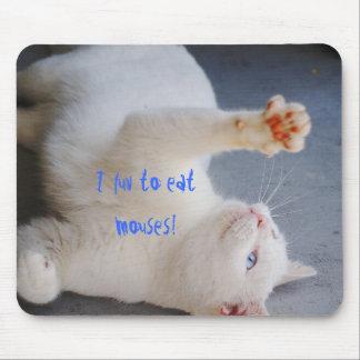 mouses、白い猫の、緑及び青い目を食べるためにlove マウスパッド