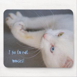 mouses、白い猫、金ゴールドの目及び青い目を食べるためにlove マウスパッド