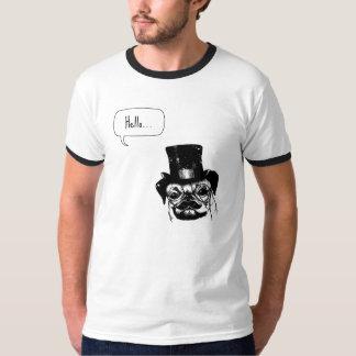 Moustachedのパグ Tシャツ