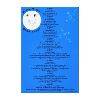 "Mr. Moon, Mr. Moon Fun Children's Poem 32"" x 48"" キャンバスプリント"