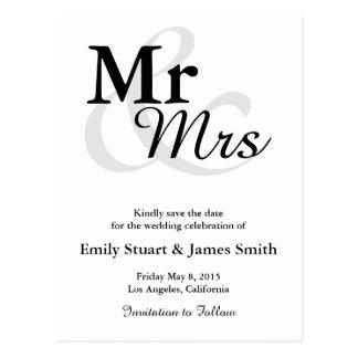Mr&Mrsのシンプルでエレガントなタイポグラフィの保存日付 ポストカード