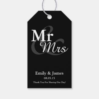 Mr&Mrsのシンプルでエレガントなタイポグラフィの結婚式の引き出物 ギフトタグ