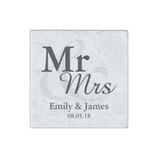 Mr&Mrsのシンプルでエレガントなタイポグラフィの結婚式の引き出物 ストーンマグネット