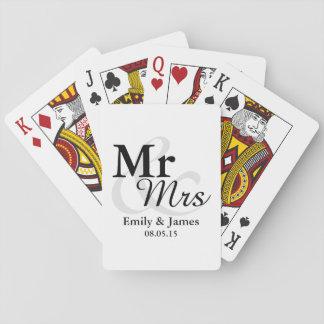 Mr&Mrsのシンプルでエレガントなタイポグラフィの結婚式の引き出物 トランプ
