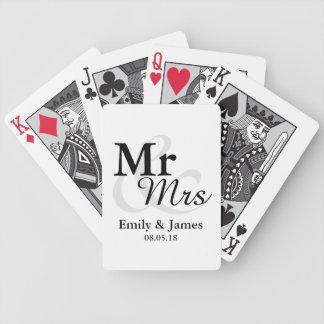 Mr&Mrsのシンプルでエレガントなタイポグラフィの結婚式の引き出物 バイスクルトランプ