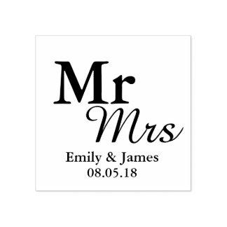 Mr&Mrsのシンプルでエレガントなタイポグラフィの結婚式の引き出物 ラバースタンプ