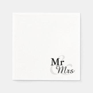 Mr&Mrsのシンプルでエレガントなタイポグラフィの結婚 スタンダードカクテルナプキン