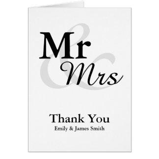 Mr&Mrsのシンプルでエレガントな結婚式は感謝していしています カード