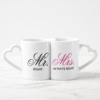Mr.&Mrs.権利は常に個人化なります ペアカップ