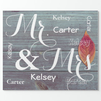 Mr & Mrs Wedding/Anniversary Personalized Names ラッピングペーパー