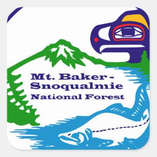 Mtのパン屋- Snoqualmieの国有林のロゴ スクエアシール