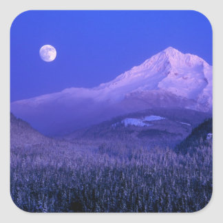 Mtのフードの冬、オレゴンにわたるMoonrise スクエアシール