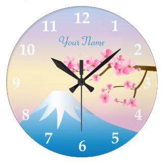 Mt富士のプラム花の春の日本語Umenohana ラージ壁時計