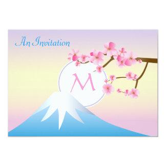 Mt富士のプラム花の春の日本語Umenohana 12.7 X 17.8 インビテーションカード