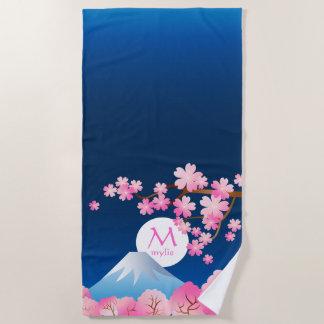 Mt富士の桜の日本のな桜のモノグラム ビーチタオル