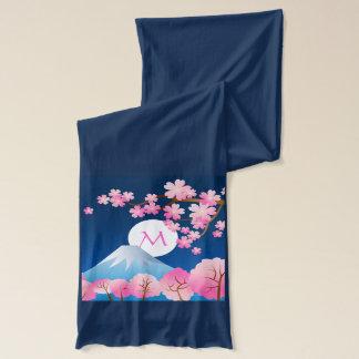 Mt富士の桜の春の日本夜桜 スカーフ