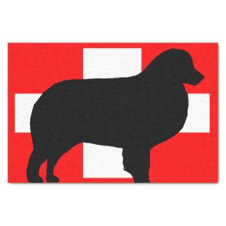 mt犬のシルエットのスイス連邦共和国のbernese旗 薄葉紙