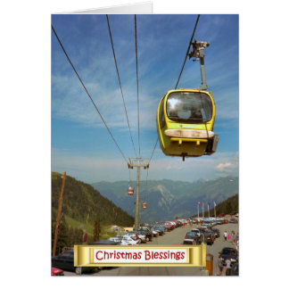 Mt Blancのフランスのなアルプスへのケーブル・カー カード