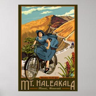 Mt. Haleakalaの自転車はハワイに乗ります プリント