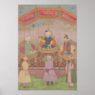 Mughal皇帝Baburおよび彼の息子、Humayan ポスター