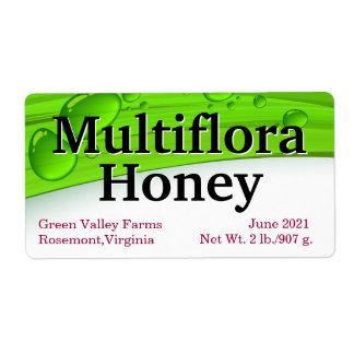 Multifloraの蜂蜜の瓶の包装 ラベル