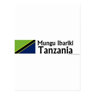 Mungu Ibariki (旗が付いている神賛美します)タンザニアは ポストカード