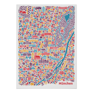 Munich City Map Poster ポスター