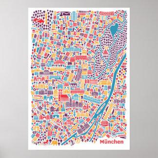 Munich City Map Poster ポスター