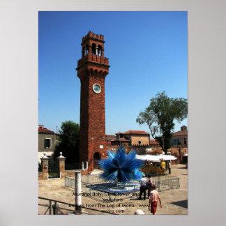 Murano、イタリアの時計台およびガラスの彫刻 ポスター