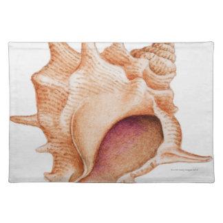 Murexの貝のイラストレーション ランチョンマット