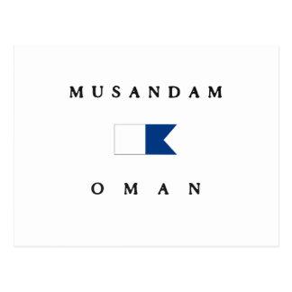 Musandamオマーンのアルファ飛び込みの旗 ポストカード