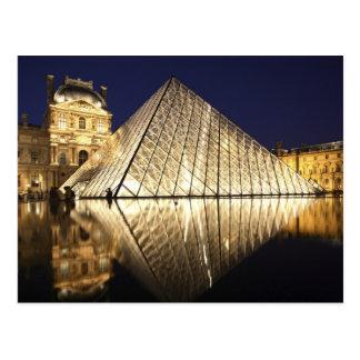 Musee DUのガラスピラミッドの夜眺め ポストカード