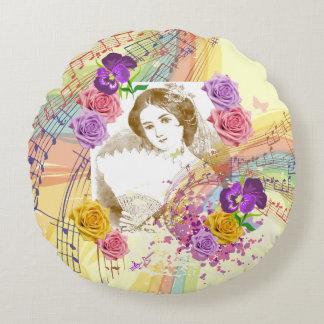 Music&Flowers Yellow Round Pillowヴィンテージファンの女性 ラウンドクッション
