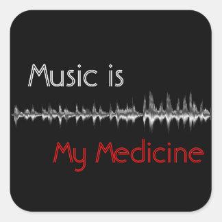Music is My Medicine Black & Red Soundwave Sticker スクエアシール