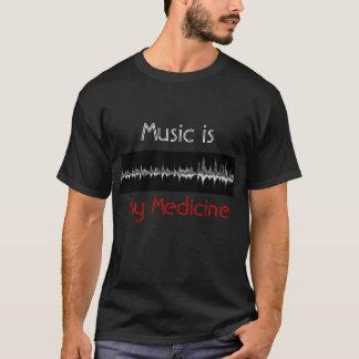 Music is My Medicine Black & Red Soundwave T Shirt Tシャツ