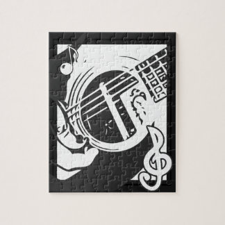 Music Lover Guitar Playing black and white ジグソーパズル