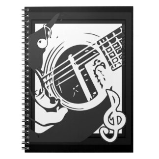 Music Lover Guitar Playing black and white ノートブック