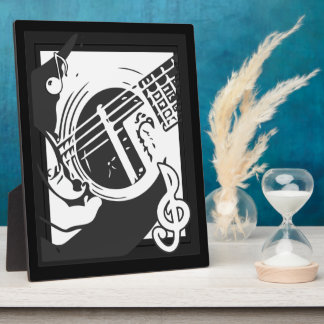 Music Lover Guitar Playing black and white フォトプラーク