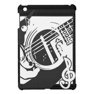 Music Lover Guitar Playing black and white iPad Miniケース