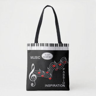 Music Tote -  Keyboard - Notes - Hearts トートバッグ
