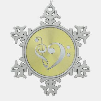 Music Treble Bass Clef Heart on Metallic Snowflake スノーフレークピューターオーナメント