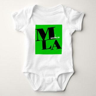 MusicaのLAのロゴの緑 ベビーボディスーツ