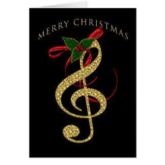 Musical G-Clef Christmas Greeting on Black カード