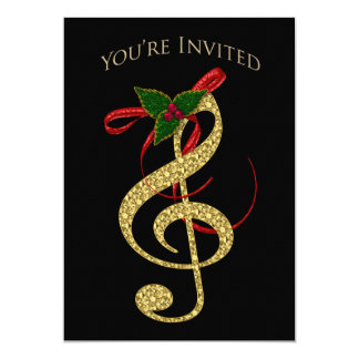 Musical Invitation - Christmas - G-Clef in Gold カード