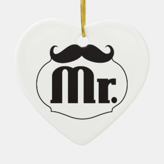 Mustache Retro Vintage Hipster氏 セラミックオーナメント