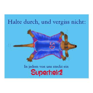 Mutmach-Karte mit süßem Superhelden (Super Dackel) ポストカード