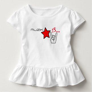 MuZiKはあります… 女の子は星および石手によって波立たせます トドラーTシャツ