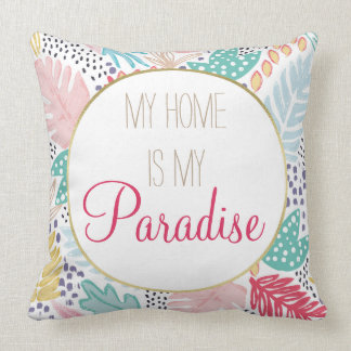 My Home is My Paradise Tropical Pattern Cushion クッション